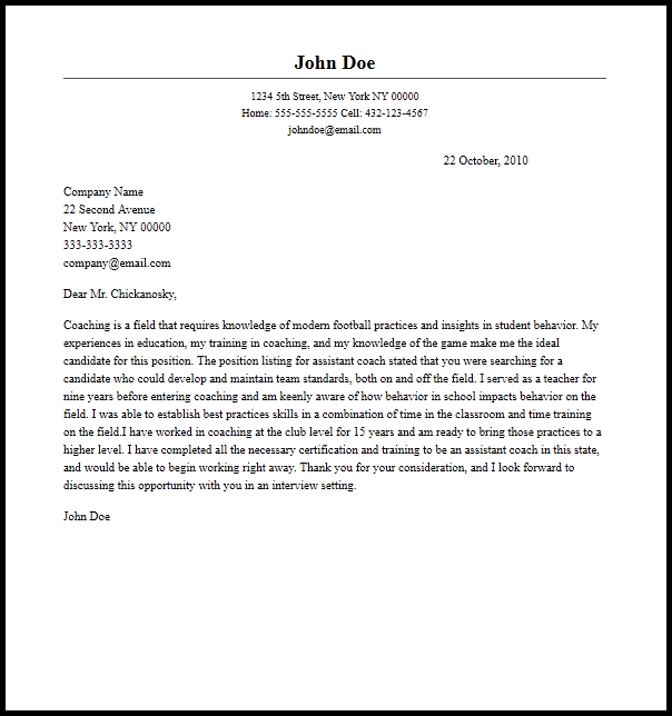 head coach cover letter sample docoments ojazlink