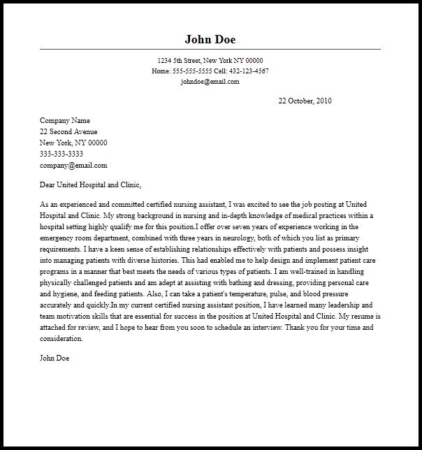 Nursing Istant Resume Cover Letter In For Cna Job