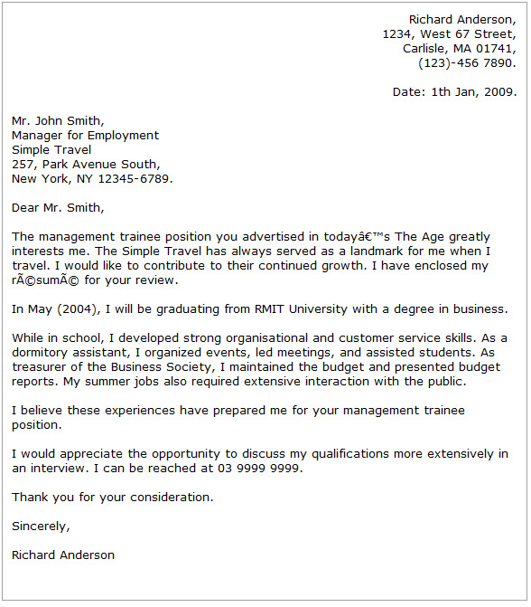 Sample cover letter for Internship position at RMIT University