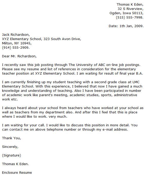 Sample Teacher Cover Letter Example English Teacher Cover Letter