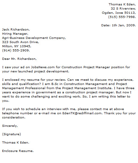 Project Manager Resume Cover Letter