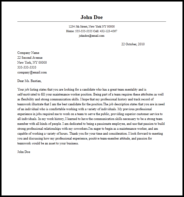 sample letter of recommendation for maintenance worker