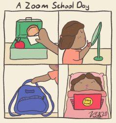 Editorial Cartoon: A zoom school day Daily Bruin