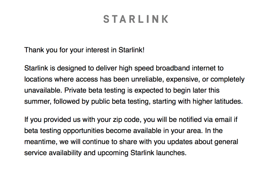 Starlink email announcement