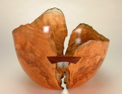 "Norway Maple with walnut butterfly ""The Great Divide""....17 1/2"" dia. x 10 1/2"" tall"