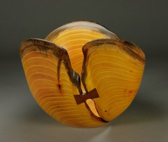"Osage Orange with walnut butterfly 13"" dia. x 10"" tall"