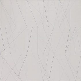 Eunji Seo: ((1/6 ->1/6) x 9) x 9 Acryl und Bleistift auf Leinwand 90 x 90 cm 2017