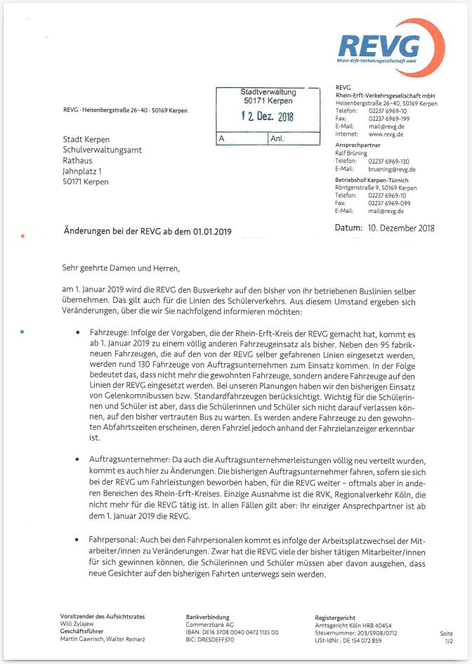 Brief der REVG über Änderungen beim Schulbusverkehr ab Januar 2019.