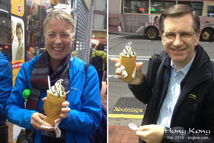 I wanted to treat Dori to something unique, and found this online--and right around the corner from our home in Mongkok. The cone is shaped like a fish, and it's filled with a tasty frozen yogurt/custard concoction. Not bad!