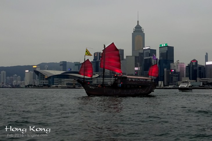 """I first visited HK in the mid 1980s. I remember real """"fishing junks"""" back then, and this is not anything like them! But this tourist boat looks nice in HK's Victoria Harbor, especially at dusk."""