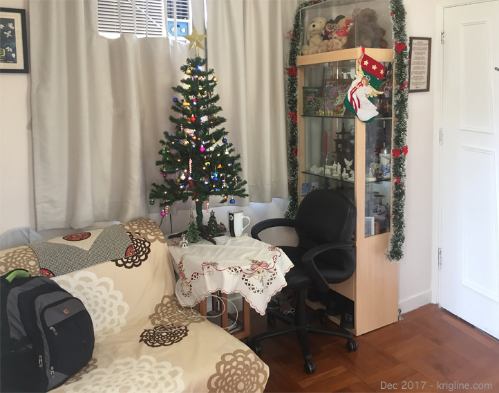 "A table-top tree is all we can fit in the apartment. We've had this one since 2011, and it always reminds me of ""Charlie Brown"" (you can see my Movie Study Guide for ""Snoopy's Christmas"" at http://www.krigline.com/movies.htm). When we finished decorating it this year, I just had to say: ""It's not a bad little tree. Maybe all it needed was a little love."""