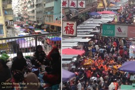 "These two photos provide a striking snapshot of HK culture. On the left, you see a handful of domestic workers from abroad; thousands gather every weekend along public walkways (like this pedestrian overpass) to spend their ""day off"" with other workers from their home country. On the right, you see HK's masses at the open market below the walkway, along with a ""Lion"" dancing to bring shop keepers good luck in the New Year."