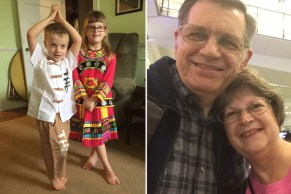 """I bought these """"minority"""" outfits for the kids in Dali recently, which Vivian delivered. Here, the grandkids show me how good they look! On the right is our selfie at the HK airport, after a long trip."""