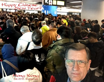 "With the holidays come lots of crowds. It took over 30 minutes to get onto the subway here, in what normally takes just minutes. ""Welcome to Hong Kong at Chinese New Year!"""