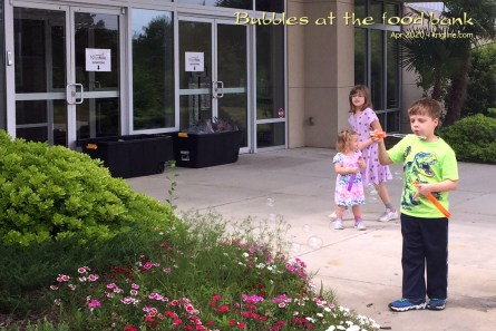 "Because of our charitable work, we are connected to several wonderful churches. This one (Northstar) asked for food to give away, so Vivian rounded up what they needed and dropped it off. (It's good for the kids to see parents/grandparents ""giving""; and the chance to blow bubbles always makes an outing into a treat)."