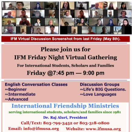 During the week, I select and edit English lessons, and then teach online in IFM's free Friday night program. (We'd be doing this in person, if not for Covid-19.)