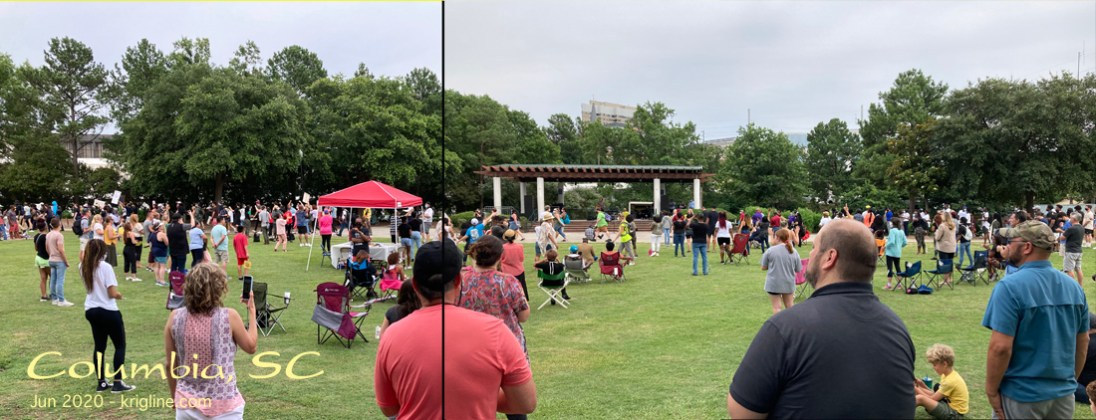 """I took these two photos near the end of the event. The park allowed us to maintain """"social distancing"""" while expressing unity as brothers and sisters in Christ from all races."""