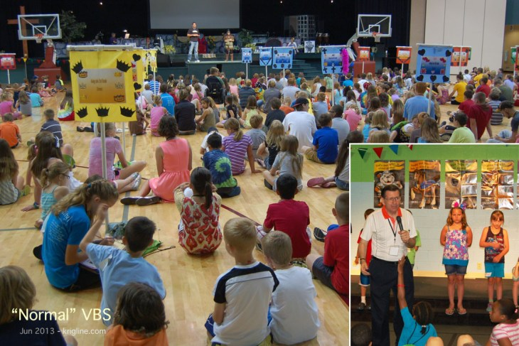 I helped with this VBS a few years ago. As you can see, it is a BIG production, and kids love to participate. This year, we were stuck at home.