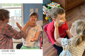 """The whipped cream we bought didn't """"stick"""" very well, but the idea was for the other kids to attach crackers to your cream """"beard."""" Even Caroline figured this one out and played along."""