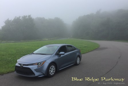 This photo shows our Corolla in the mist. One side of the ridge was pretty clear, but we could see nothing on the other side!