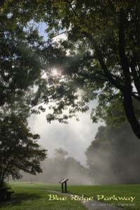 """The Parkway is a two lane road, with almost no buildings, built on the top of a ridge. It has many """"overlooks"""" and a few rest/picnic areas, like this one. North Carolina's morning mist looks great in this photo."""
