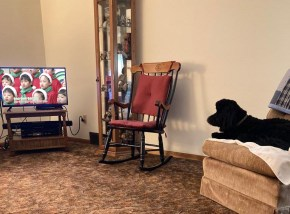 "My Mom's dog Oreo watched ""Christmas Around the World"" (with Mom and many of our friends) from Ohio."
