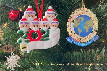 """Every year, we add ornaments to the tree that point to the year past. The left ornament includes masks, hand-sanitizer and toilet paper; the one of the right (from WhiteHouseHolidays) says """"We're all in this together."""""""