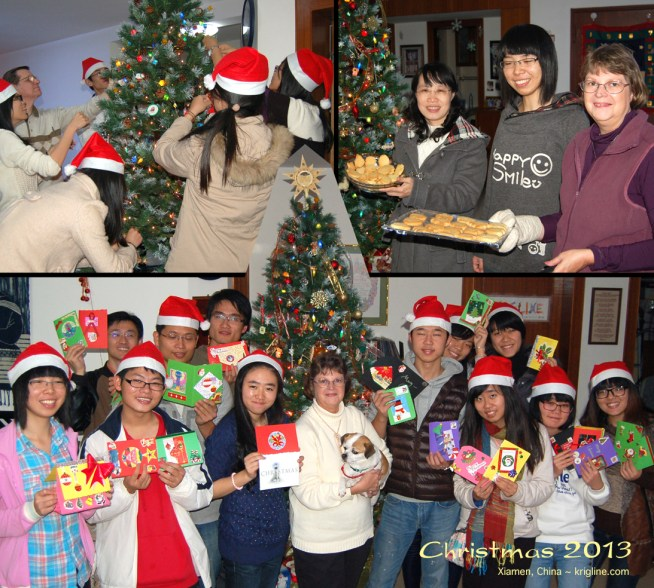 In 2013, we used this montage to send friends in the US our annual greeting. It shows our decoration party, Vivian's cookie-class, and make-a-card day. We held similar activities every Christmas while in China.