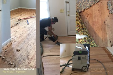 The previous owner (age 92) had several cats, and their fur (etc) was in the carpet. We pulled it out, and refinished the original hard-wood beneath it. (We had done the same down the street in the 1990s.)