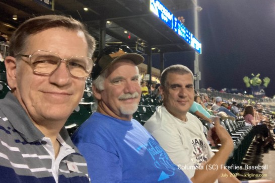 """Back in Columbia at the Fireflies baseball game (""""The Fireflies"""" doesn't evoke an competitive spirit to strive for--like the Braves, Indians, Vikings, etc--but at least it shouldn't offend anyone!)"""