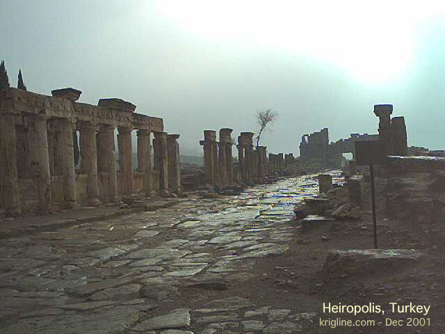 This beautiful Roman road in the ruins of Hieropolis gives testimony to Turkey's great past. The region claims a 7000-year history under a vastly different host of rulers.