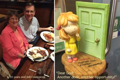 In early August we celebrated our 30th wedding anniversary at a steak-house in Columbia. On the right, you see a cute reminder (in our optical shop in HK) that every door provides new opportunities to grow closer to the Lord, and to find new ways to bless others.
