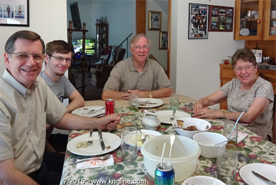 Uncle Bob, Aunt Dottie and Andrew at Mom & Dad's dining room table