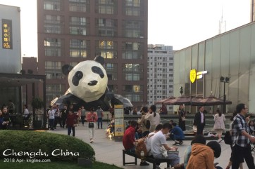 """On the mall's rooftop garden, you get to see """"the better end"""" of the giant panda. It's MUCH cuter than King Kong, but I don't think it would make a very good film!"""