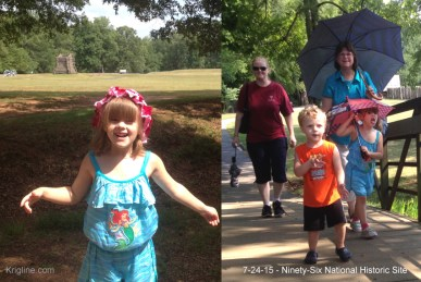 On the left, Christy starts to explore; the other photo shows her after hiking for a mile in SC's July heat!