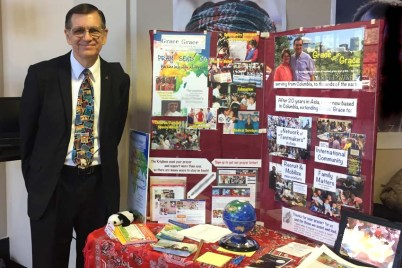 This display invites people to learn more, and encourages them to pray for me and my family as we are involved in a variety of service projects.