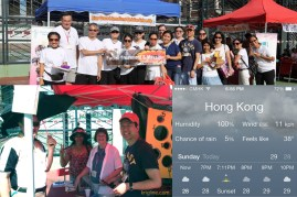 """Our church participated in a community-fun-day in late June, offering games for kids, free facials for ladies, and more. If you can't read the weather report, it says """"feels like 38"""" (degrees C), which is over 100 F! It was even hotter mid-day!"""