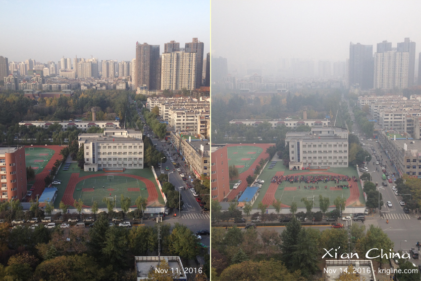"""We stayed with friends, and from their balcony you can see the """"air"""" that so damaged our health years ago. People say the air is """"much better"""" than it was a dozen years ago, but I was told that it is still rare to see """"clear"""" days like the one on the left."""
