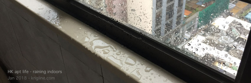 """It doesn't rain much in HK, and that's good because two windows in our """"new"""" apartment leak! A guy came to try to re-seal them once, but obviously more work needs to be done."""