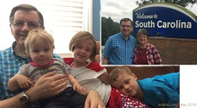 Next, we drove our new Kia (used, but new to us) from Ohio to SC, stopping for this photo at the Welcome Station before my reunion with our grandchildren.