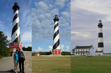 June 2. Between SC and Washington DC, we went out of our way to visit North Carolina's famous Outer Banks. Just after a storm, the sky was gorgeous for these lighthouse photos (Cape Hatteras left; Bodie Island right).