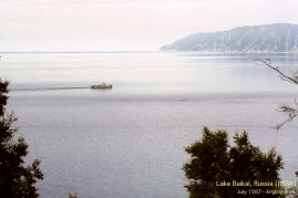 Looking down at Lake Baikal, probably from my hotel. I was in a boat like this on July 4, 1987.
