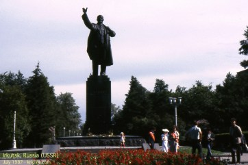 """In Irkutsk I was told that this couple came to Lenin's statue on their wedding day, sort of a way to seek """"good luck"""" for their marriage. It goes to show that even in a place where praying and superstition are forbidden, people look for help outside the natural realm!"""