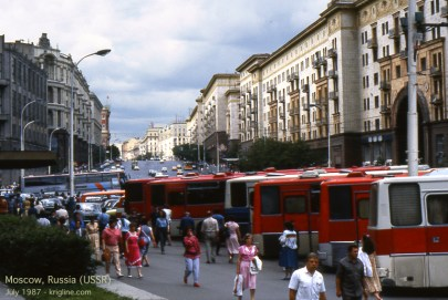 Intourist buses await their assigned tourists in Moscow.