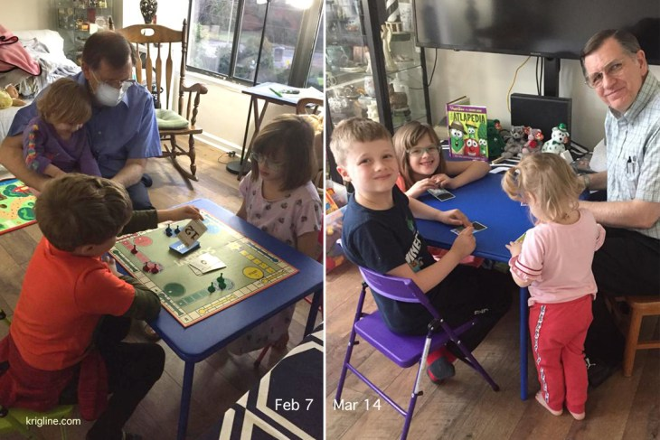 (left) I wore a mask for a while after returning from Hong Kong, and generally avoided others for two weeks. (right) The grandkids enjoy doing a craft with Grandpa.