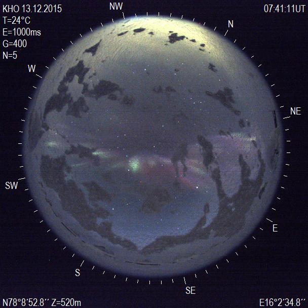 ZWO all sky camera captures aurora from Svalbard. (c) UNIS