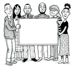 People holding a blank notice board