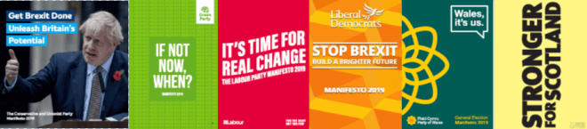 Front covers of the party manifestos