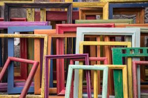 A colourful collection of picture frames