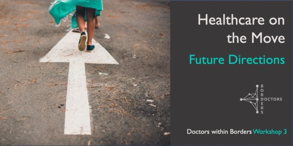 """Image of person walking on an arrow on the road wearing some material that looks like sacking cloth in surgical green colour, along with title of workshop: """"Healthcare on the Move: Future Directions"""""""